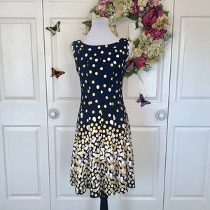 Dotty Navy Fit and Flare Dress
